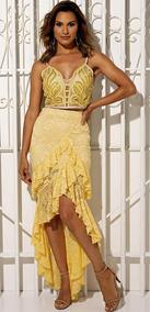 Conjunto Amarelo Renda Cropped Bordado Vanessa Lima Tam G