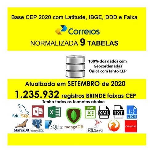 Base De Cep 09/2020 Master Completa Com Latitude + Ibge + Fx
