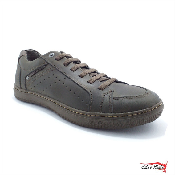 Sapatenis Mega Boots Masculino Couro Cadarço Elastico- 16002