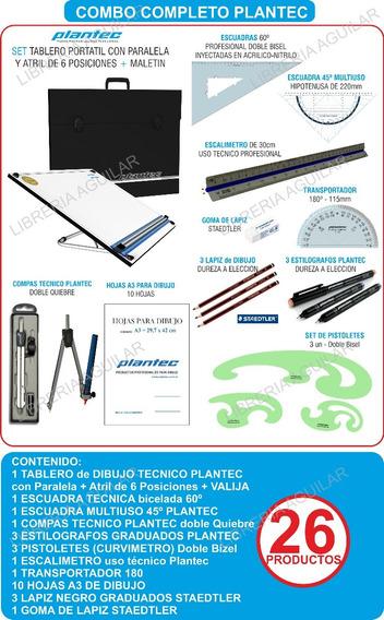 Kit Premium Tablero 50x60 Plantec Dibujo Tecnico 26 Articulo