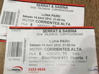 Antiguas Entradas Serrat Sabina De Coleccion 2012