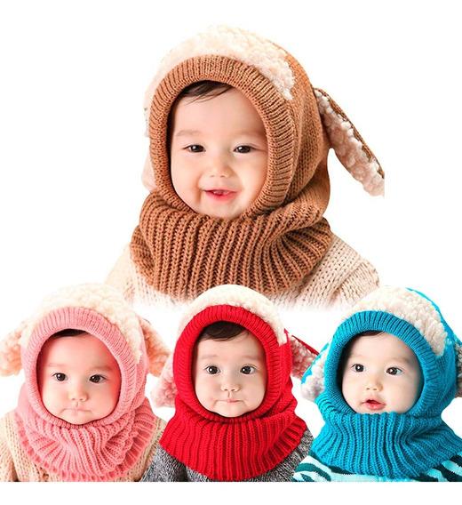Gorro Para Bebe Con Bufanda Unisex Invierno Colores Orejitas