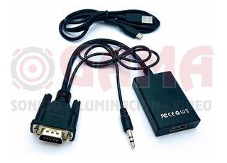 Convertidor Plug Vga + Audio A Jack Hdmi C/cable 3.5st Cp05-