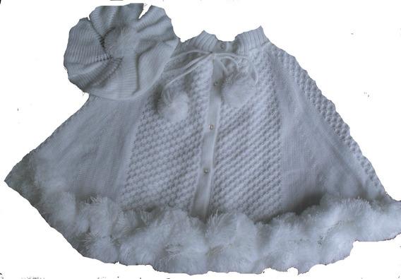 Poncho Aberto Pompom Boina Bebê Menina Trico Inverno Ref.150