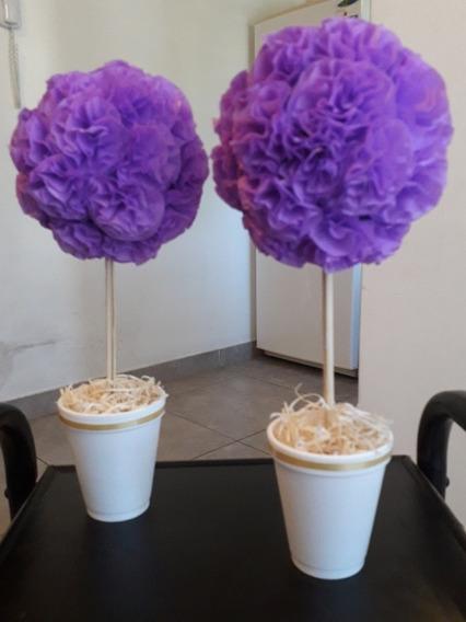 Topiarios Con Flores De Papel Crepe