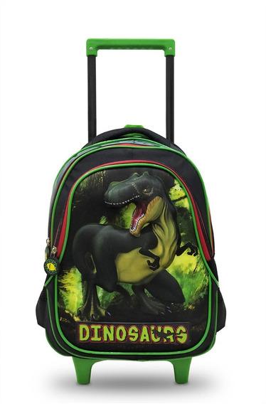 Mochila Rodinhas Infantil Dinossauro 3d Masculino Com Alças