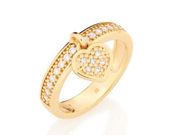 Anel Folheado A Ouro Rommanel Coração E Zircônias 511376