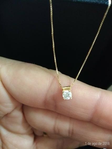 Colar Ponto De Luz Com Diamante De 15 Pontos.