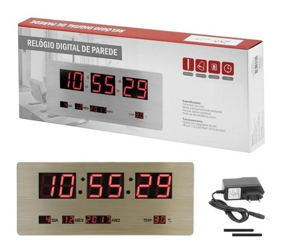 Relógio Led Painel Inox Display Parede Mesa Digital Grande