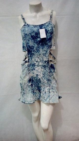 Vestido Jeans Curto Alças Trançado Blogueira Juju + Brinde