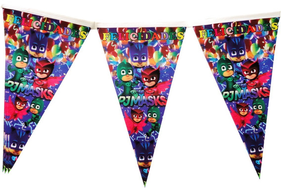 Heroes En Pijama Banderin 2m De Largo Pjmask Fiesta