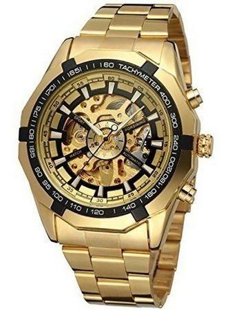 Relógio Masculino Dourado Automático Aço Inox Winner +brinde