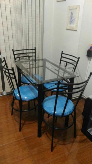 Mesa Vidro Com 4 Cadeiras - Sala De Jantar - Preto90x60