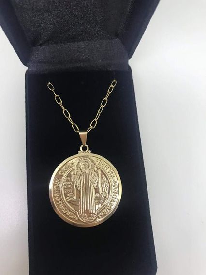 Corrente Masculina Com Medalha De São Bento Banhada A Ouro18