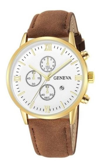 Relógio Luxo Geneva Pulseira De Couro Frete Grátis