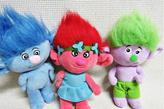 Boneca Trolls Lote (3) Pelucia 22 Cm Bau4