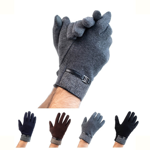 Imagen 1 de 8 de Guante Hombre De Tela Para El Frio Para Pantallas Táctiles.