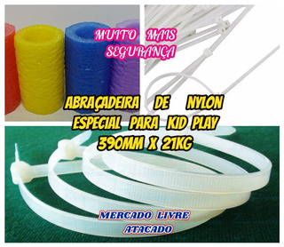 Abraçadeira Para Kid Play Nylon 390mm Branca Forte Kit C/100