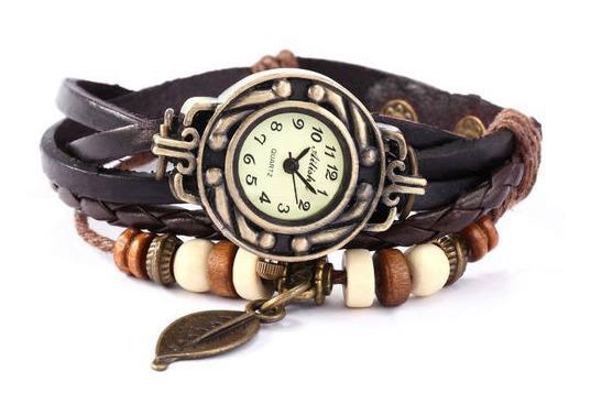 Relógio Feminino Pulseira Couro Pingente