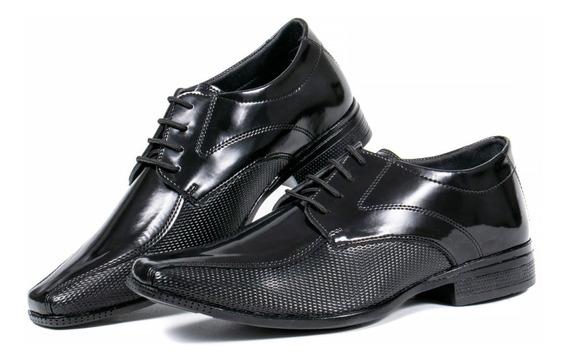 Sapato Social Masculino Preto Cadarço Oferta
