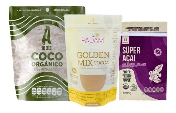 Combo Acai Liofilizado,golden Milk Cocoa Y Coco Rayado