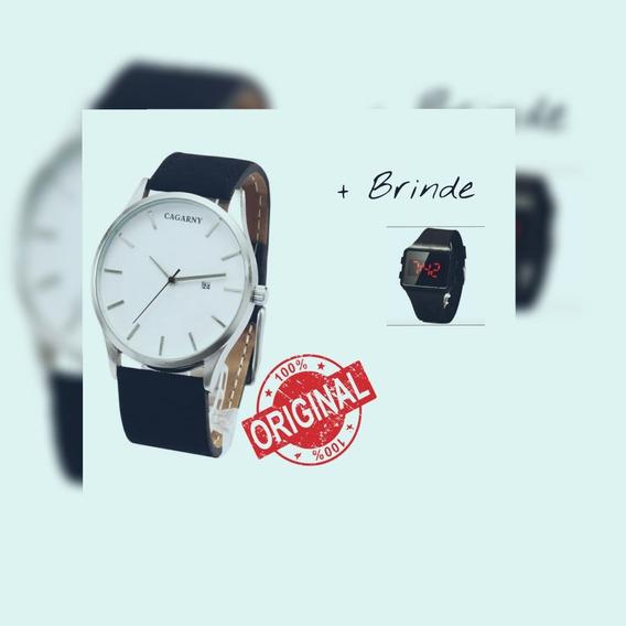 Relógio Masculino De Luxo Marca Cagarny- Original + Brinde