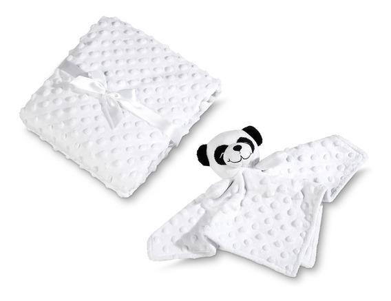 Manta Naninha Bebê Fleece Lepper Mini Panda 2 Peças Branco