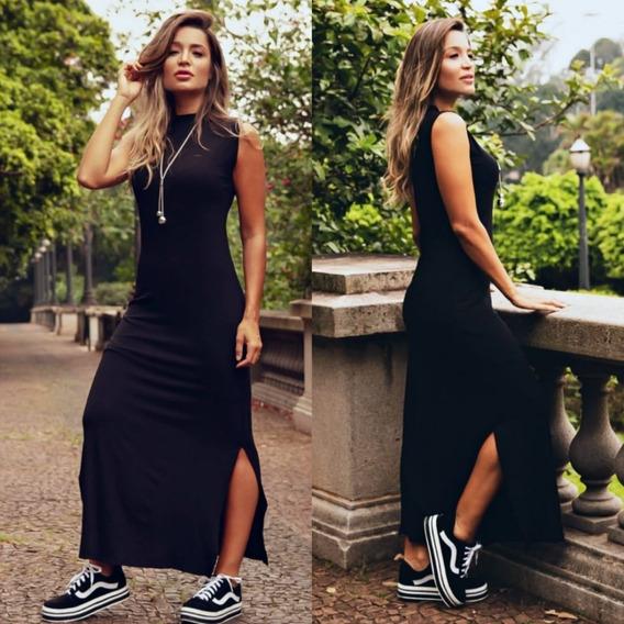 Vestido Gola Alta Malha Longo Preto Básico Fenda Lateral Fem