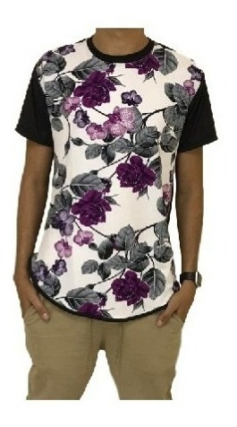 Camisa Estampada De Manga Curta Floral, Havaiana