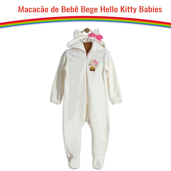 Macacão Bebê Manga Longa Menina Com Capuz