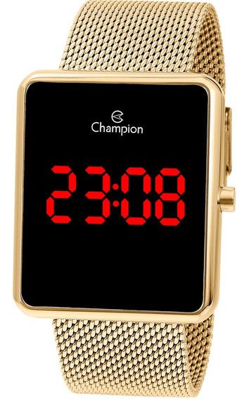 Relógio Champion Digital Quadrado Pulseira Corrente Ch40080v