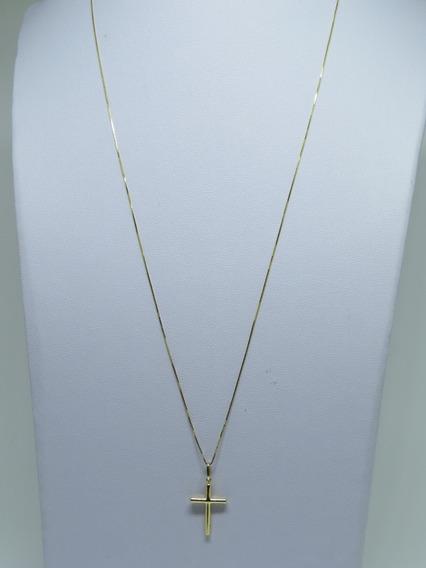 Corrente Masculina Veneziana 80cm Crucifixo Em Ouro 18k 750