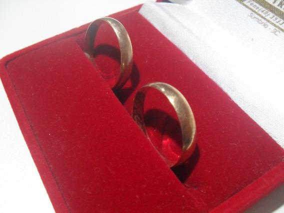 1 Par De Alianças Ouro 12k Jóia Casamento Noivado
