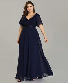 Vestido Fiesta Largo Burdeo Azul Talla Grande 18 20 22 Ep 16