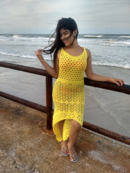 Saida De Praia Sereia, Vestido Tricot Kit Com Dois