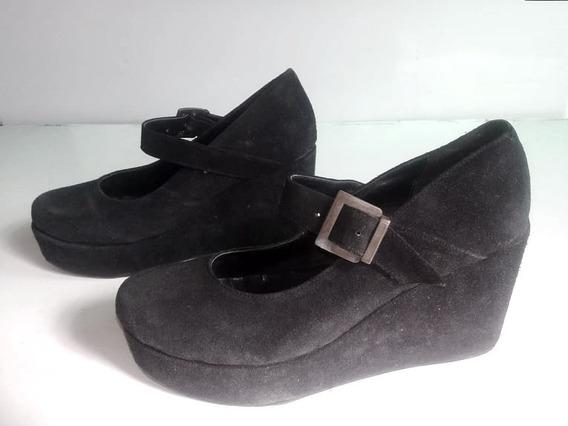 Zapato Guillermina Plataforma N°38, Gamuza Negra