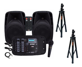 Kit Caixa Mixer Ativo Novik Evo410 Handy Com 2 Tripés Staner