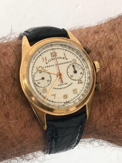 Reloj Longines Cronógrafo Cuervo Y Sobrinos De Los Años 50s