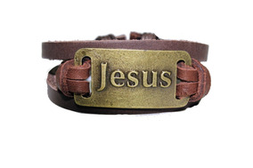 Pulseira Jesus - Couro