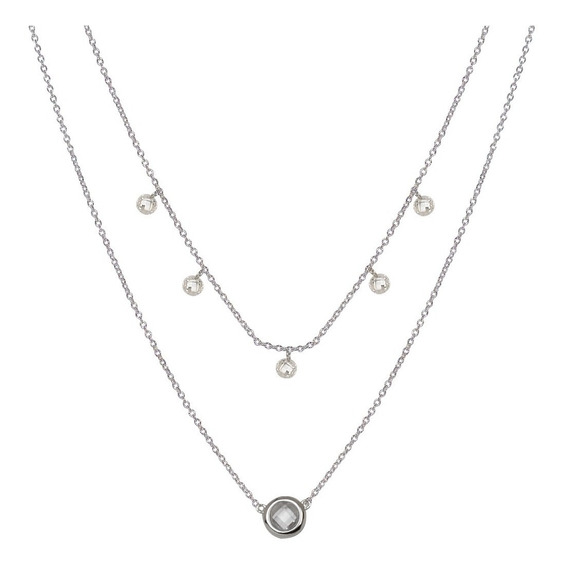 Collar Doble Plata 925, Con Cristales Colgantes Mod. 50033