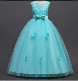 Vestido Longo Infantil Azul Tiffany