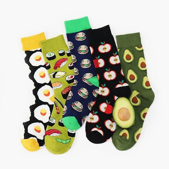 Calcetas Comidas Sushii Aguacate Tines Algodón Kawaii Moda