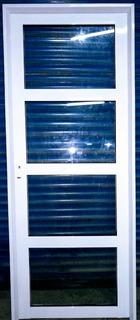 Puerta Aluminio Blanco 80 X200 Con Float 4mm , 3 Travesaños