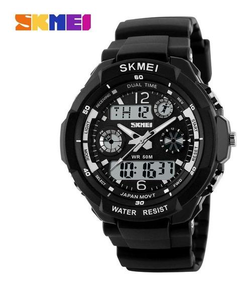 Relógio Esportivo Militar Masculino Skmei S-shock 0931 Led Digital Analógico Natação Branco Cronometro Quartz Original