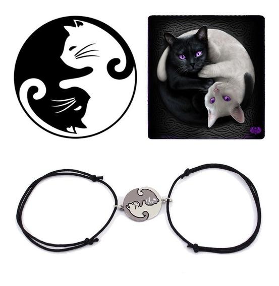 Pulseira Dupla Cat Amizade Amor Gatos Yin Yang Temos Colar