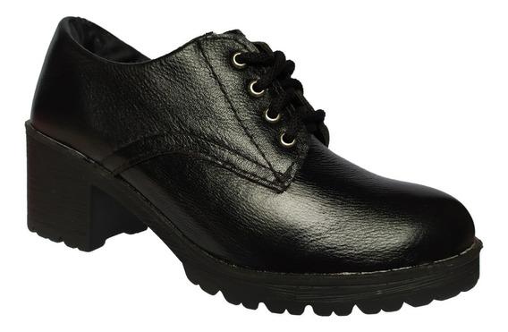 Sapato Oxford Feminino Couro Salto Médio Tratorado Grosso