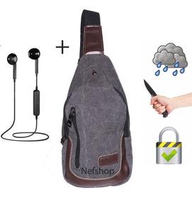 Mariconera Anti Robo Cartera Hombre + Audífonos Bluetooth