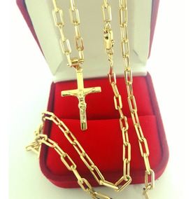 Cordão Corrente Cartier Folheado A Ouro 18k + Pingente Cruz