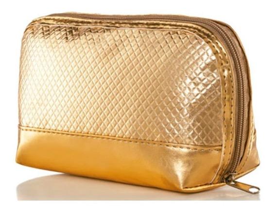 Necessarie/bolsa Dourada De Mão Luck Avon
