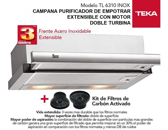 Campana Purificador Teka Tl6310 + Filtros De Carbon C3c Inox